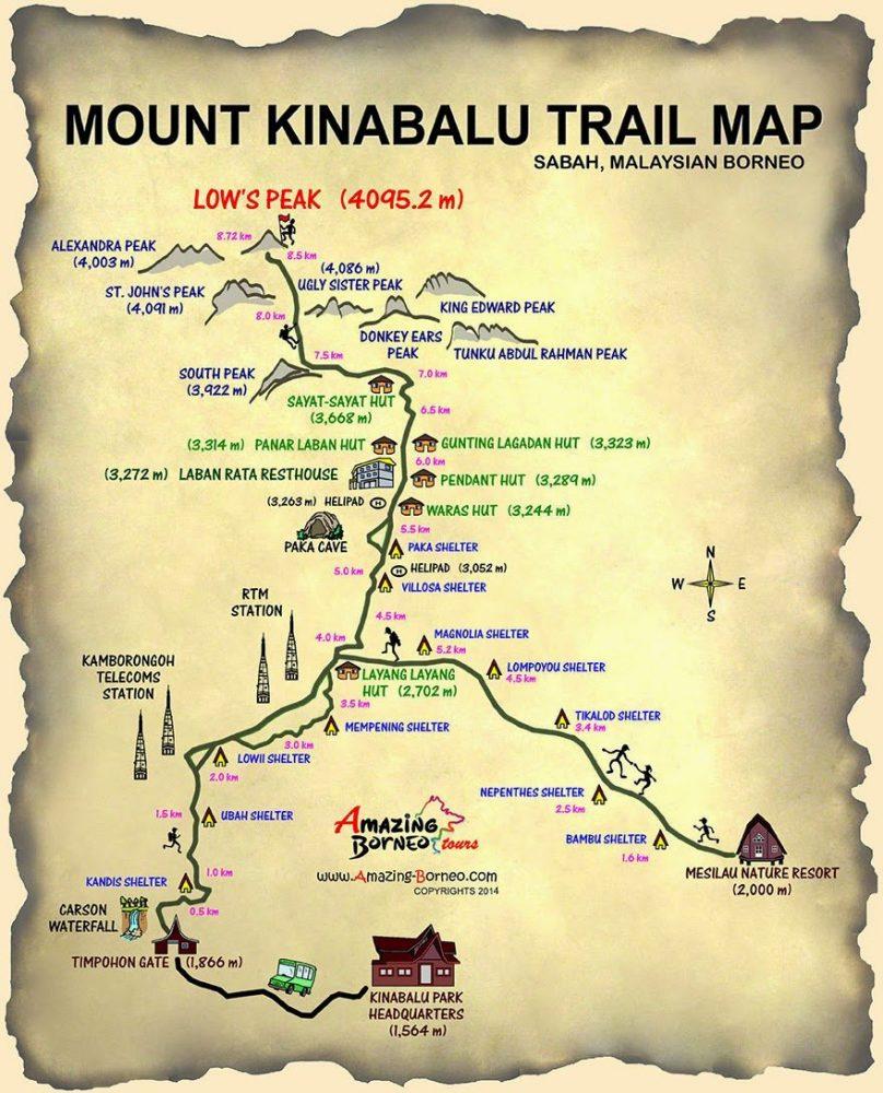 Map Pendakian Gunung Kinabalu